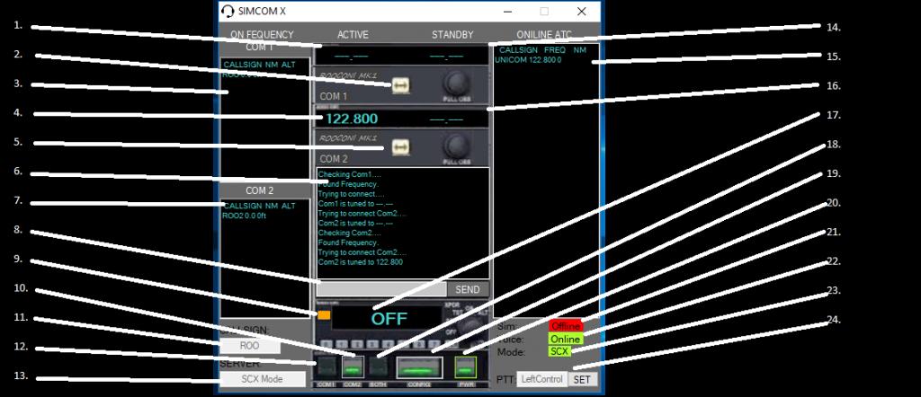 SimCom X Main Screen description